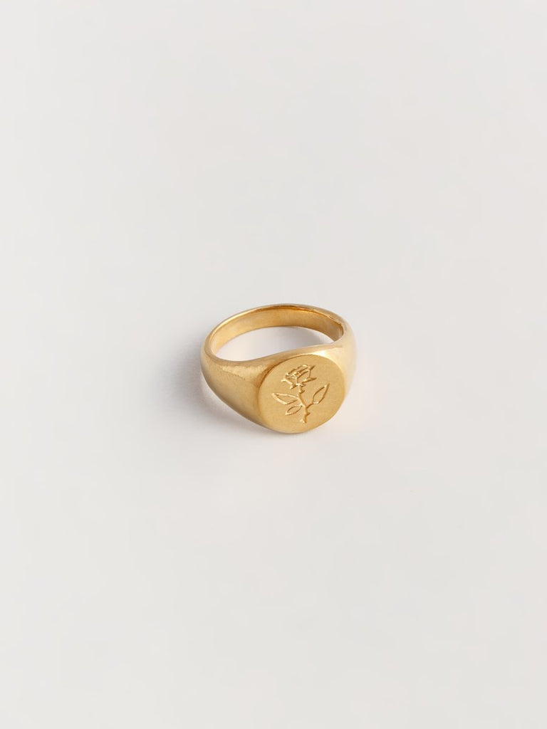 Rose Signet Ring - Gold