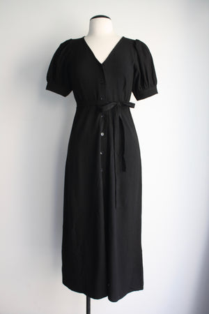 Linen Piper Dress - Black