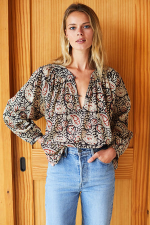 Olympia Blouse - Paisley Black & Clay