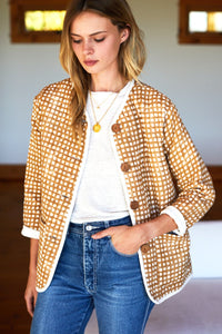 India Quilted Jacket - Ochre Gingham