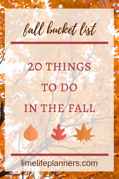 Fall Bucket List | 20 Things to do This Fall...Gotta write these down in my planner. My kids will love these!
