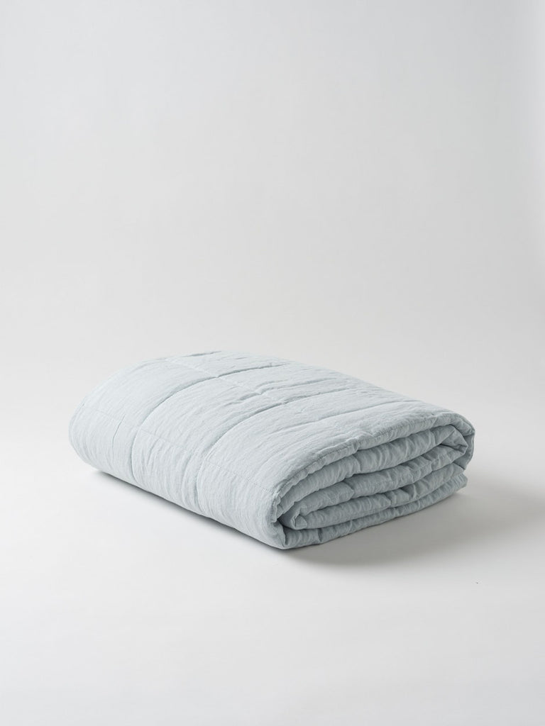 Linen Quilted Blanket Duck Egg