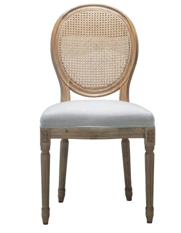 French Rattan Back Side Chair Weathered Oak