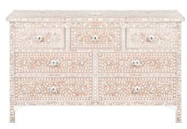 Mother of Pearl MOP Inlay 7-Drawer Chest - Floral - Pale Pink