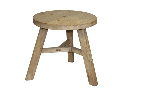 Rustic Low Round Side Table