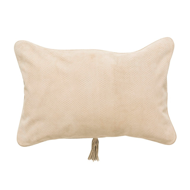 Beige Textured Leather Cushion