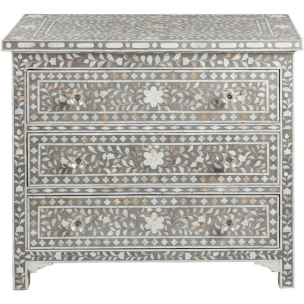 Shalimar Mother of Pearl Floral Grey 3 Drawer Chest