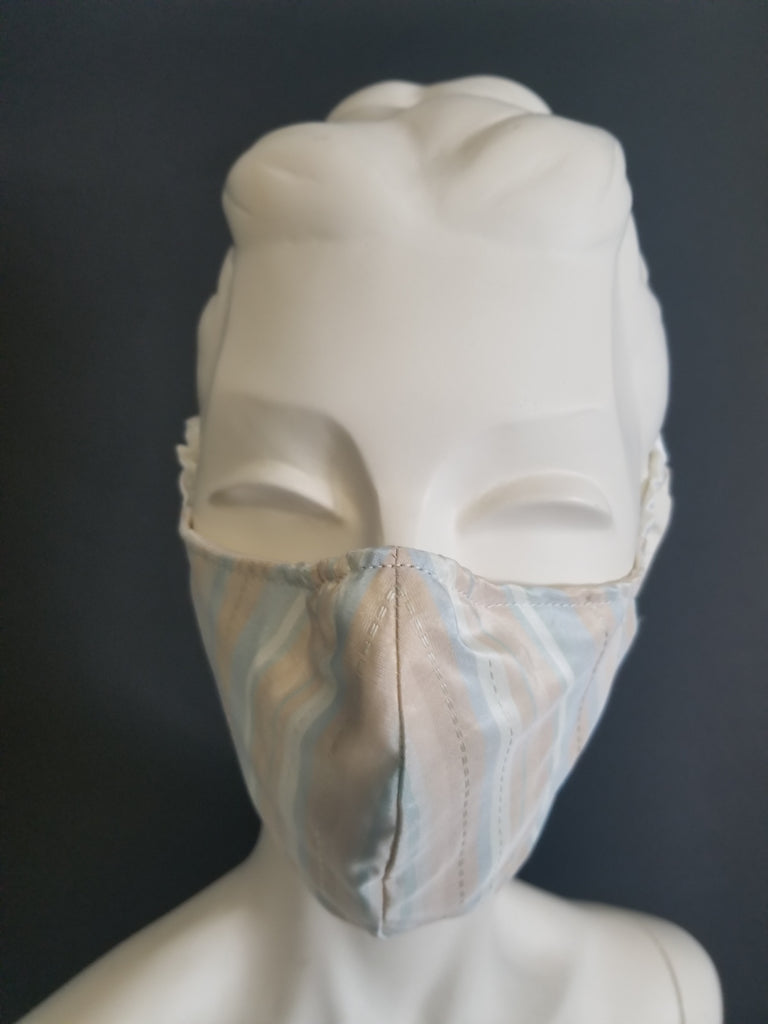 Striped Silk Taffeta Face Mask with Filter Pocket  and Special Ear Loop