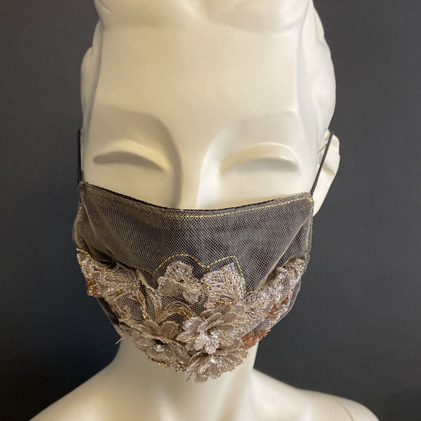 Glitzy Sand - Handmade Face Mask with Filter Pocket Insert
