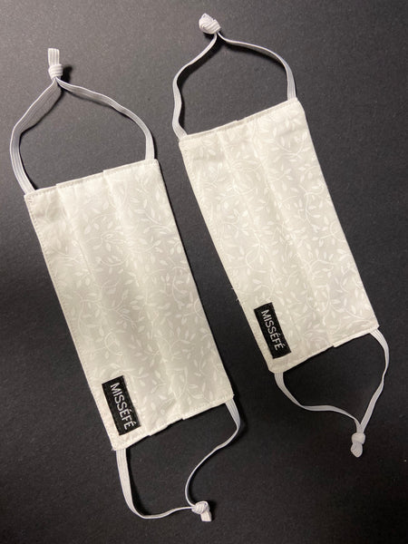 Set of 2 White Cotton Face Mask with Soft Ear Loops