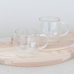 FRESNO Glass Cups | Set of 2 Double Walled Glass Cups