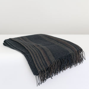 PAOLO European Linen Throw 130x180 Natural Black