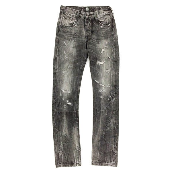 Black Distressed Selvedge Denim Jeans