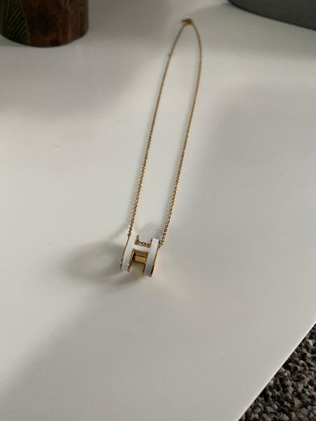 Hermes H Necklace - Titanium with 18ct Plating