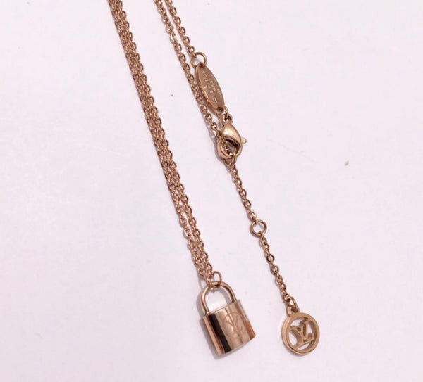 Louis Vuitton three dimensional Lock Necklace 18ct Plated onto Titanium Steel