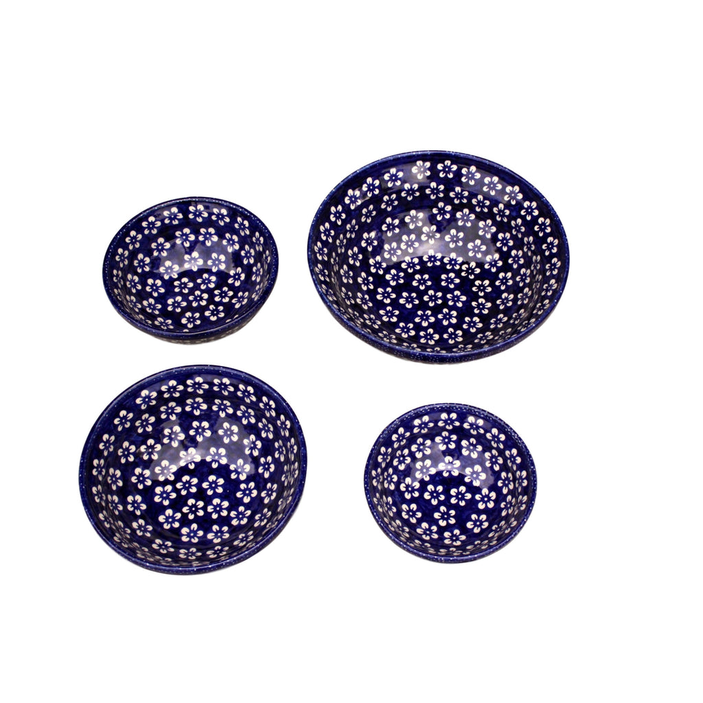 Blue Flowers - Medium Serving Bowl  Polish Ceramics - PasParTou