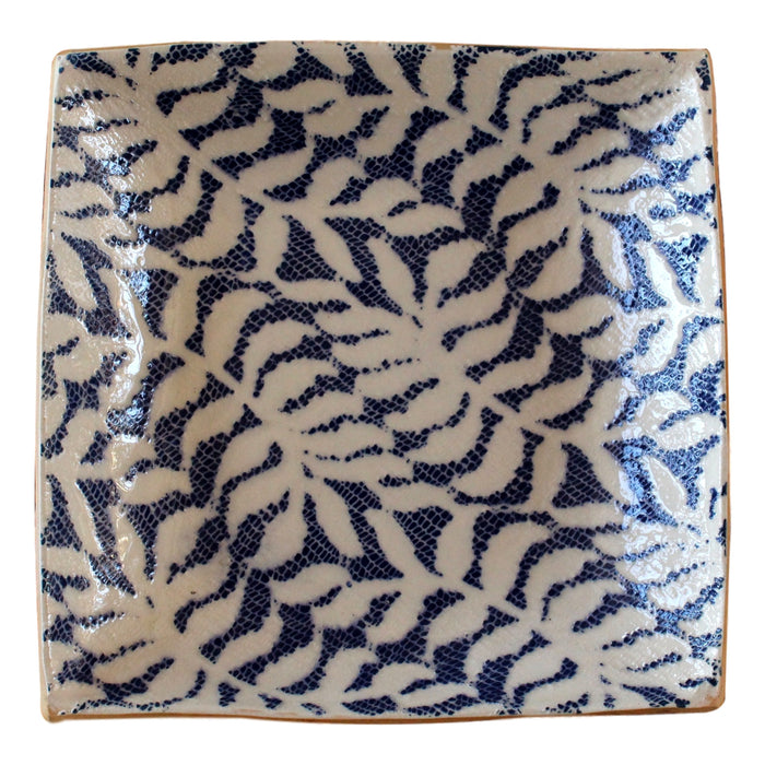Square Tray S Fern Cobalt  Handmade pottery - PasParTou