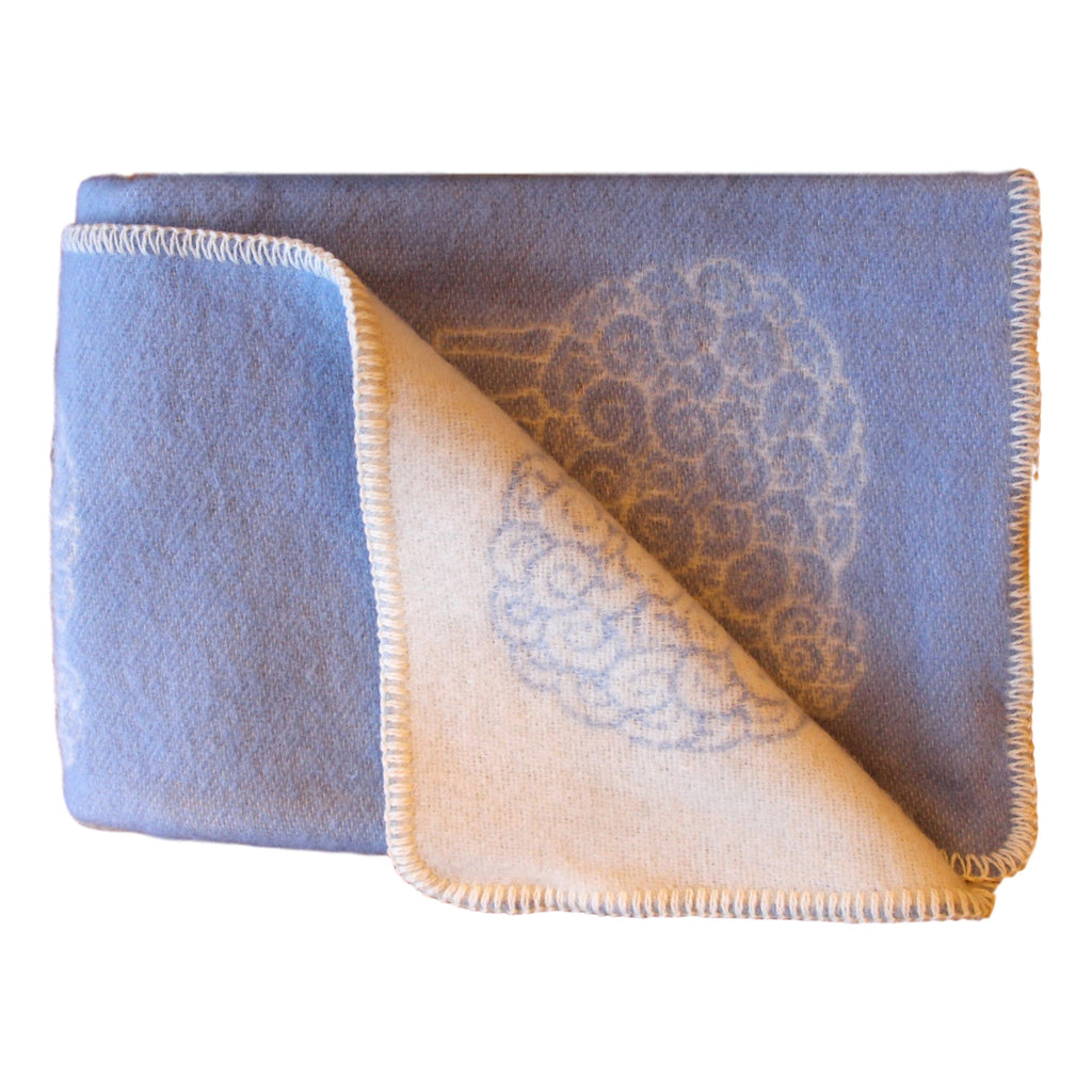 Organic Wool Baby Blanket - Soft Blue with Sheep  baby blanket - PasParTou