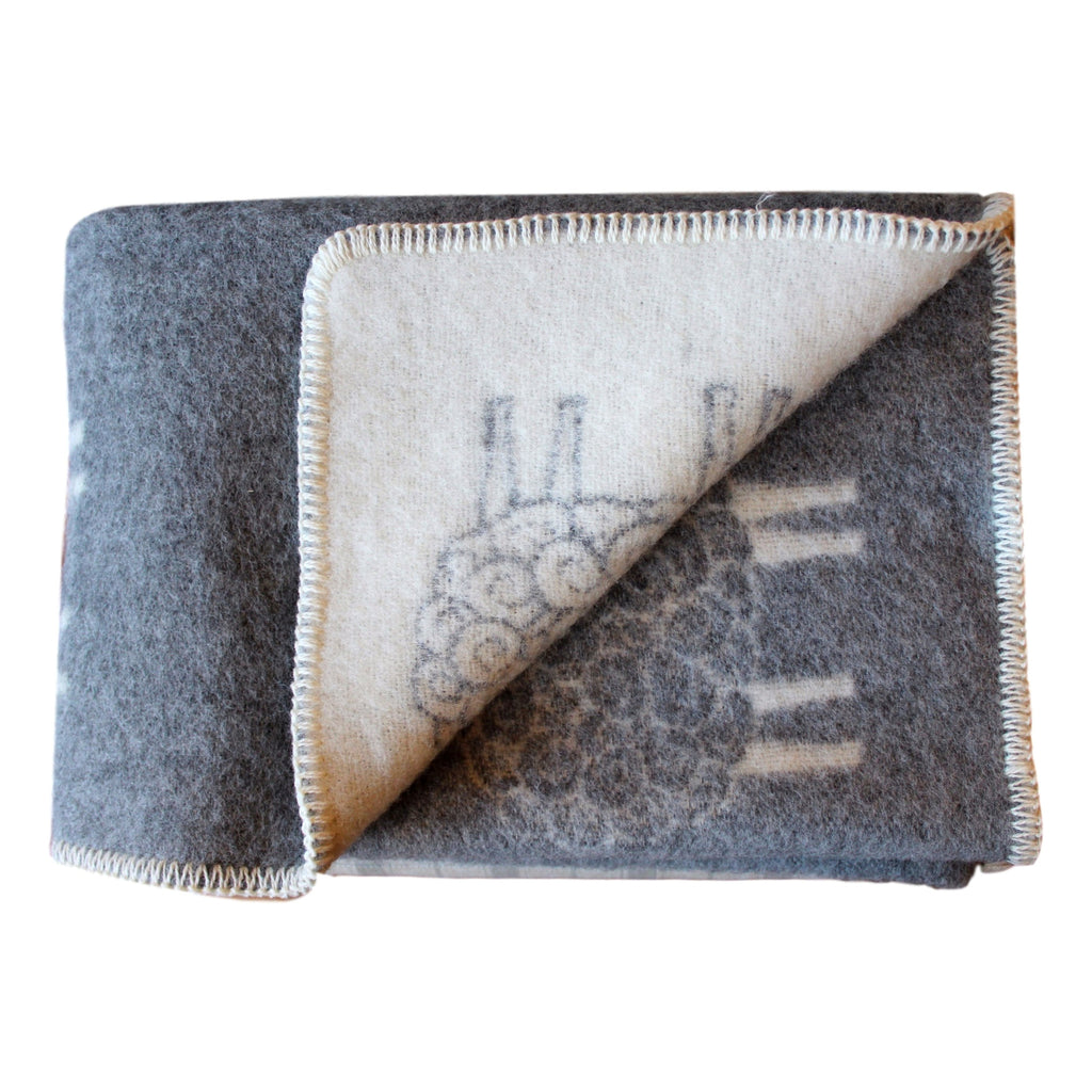 Organic Wool Baby Blanket - Soft Gray with Sheep  baby blanket - PasParTou