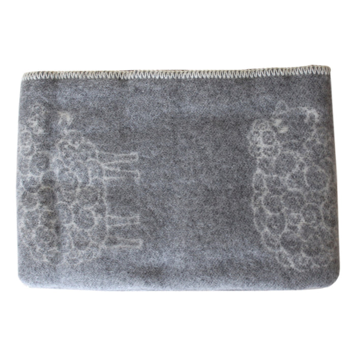 Organic Wool Baby Blanket - Soft Gray with Sheep - PasParTou