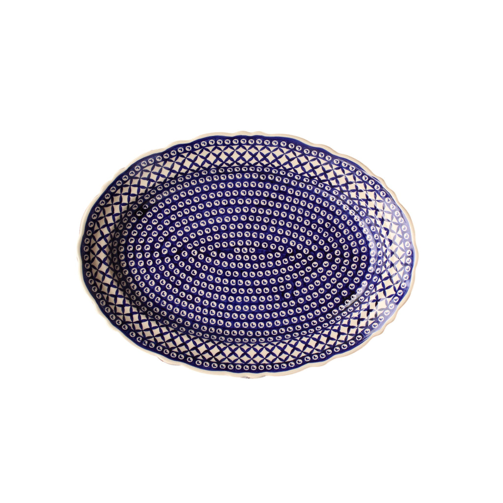 Lattice - Large Oval Serving Platter  Polish Ceramics - PasParTou