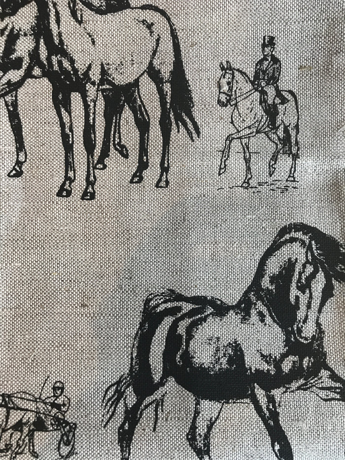 Teatowel - Natural Linen/Cotton with Black Horses  Teatowel - PasParTou