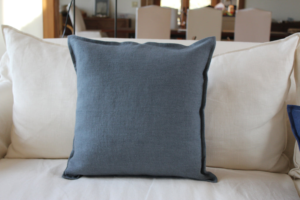 Pillow Soft Washed Linen Dark Blue 20 x 20  Pillows - PasParTou