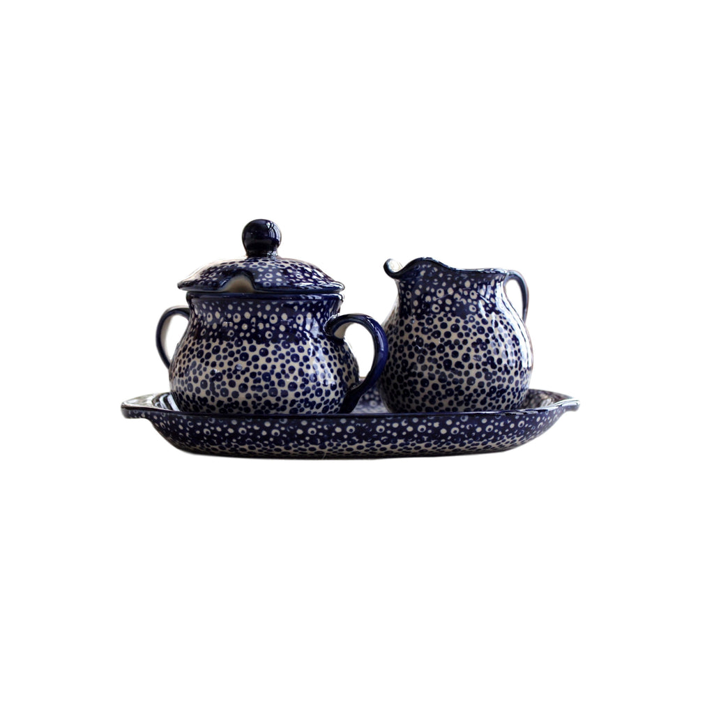 Blue Spatter- Sugar Bowl and Creamer Set -Pas-Par-Tou