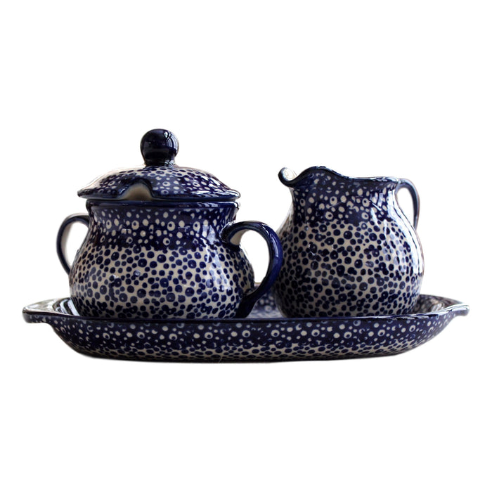 Blue Spatter- Sugar Bowl and Creamer Set  Polish Ceramics - PasParTou