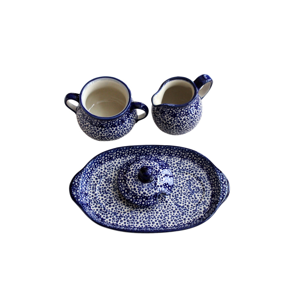 Blue Spatter- Sugar Bowl and Creamer Set - Pas-Par-Tou
