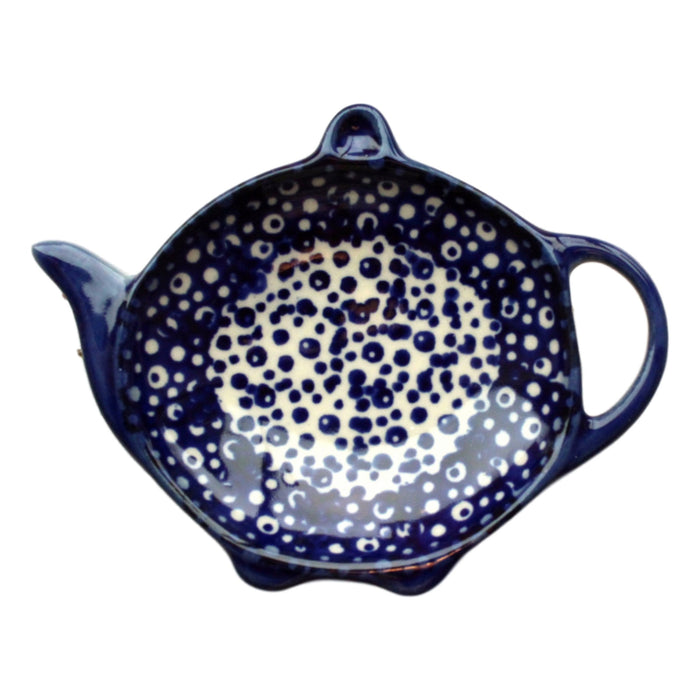 Blue Spatter - Tea bag Holder  Polish Ceramics - PasParTou