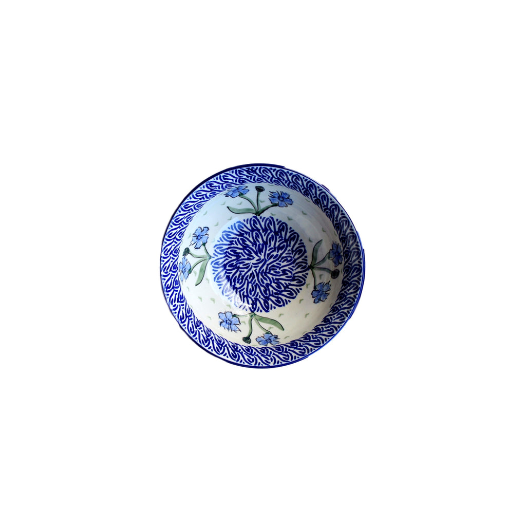 Blue Dahlia - Salad Bowl  Polish Ceramics - PasParTou