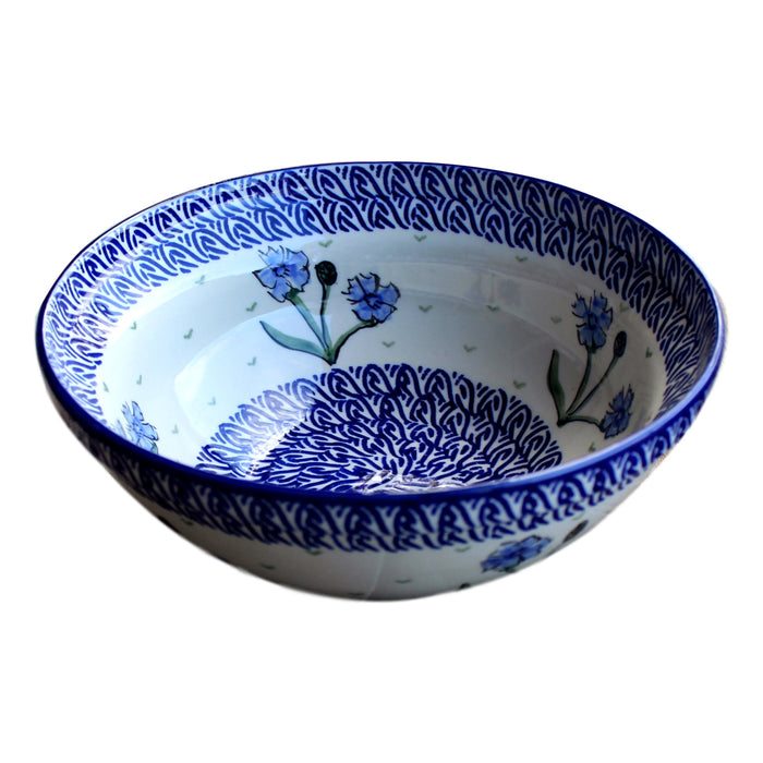 Blue Dahlia - Small Serving Bowl  Polish Ceramics - PasParTou