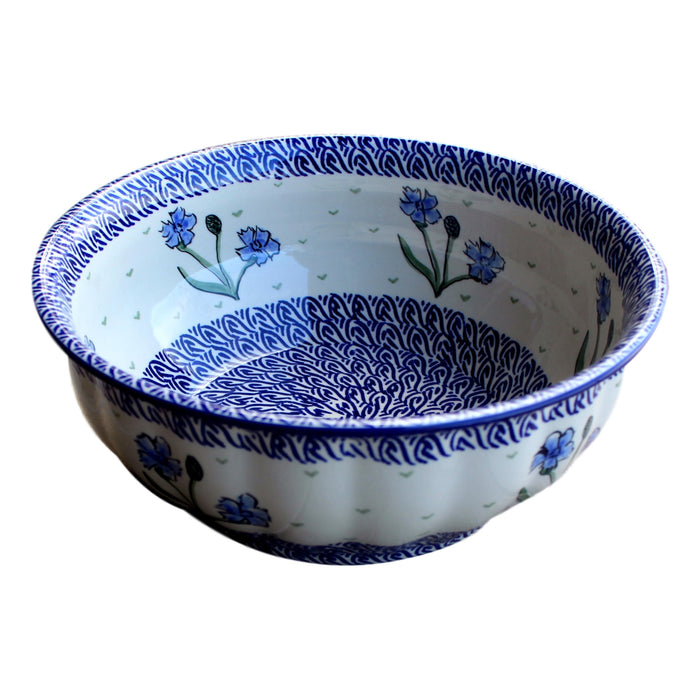 Blue Dahlia - Large Fluted Serving Bowl  Polish Ceramics - PasParTou