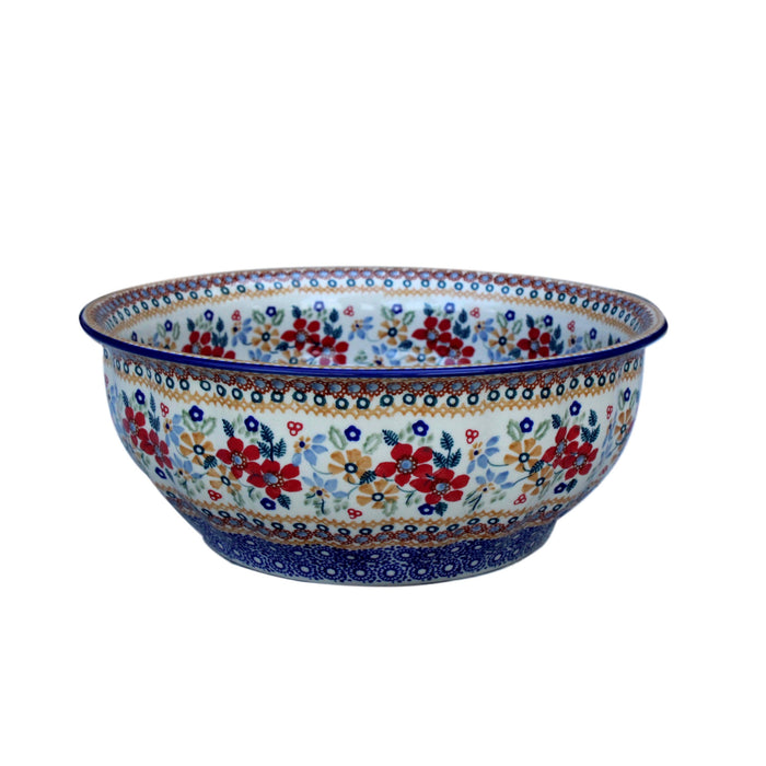 Harvest Floral 2 - Large Fluted Serving Bowl  Polish Ceramics - PasParTou