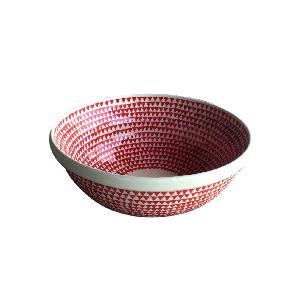 Triangles Red - Medium Serving Bowl  Polish Ceramics - PasParTou