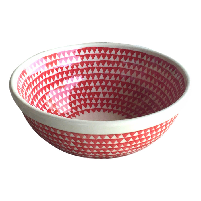 Triangles Red - Salad Bowl  Polish Ceramics - PasParTou