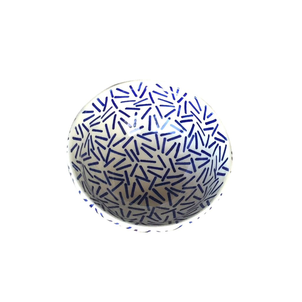 Op Art Blue - Salad Bowl  Polish Ceramics - PasParTou