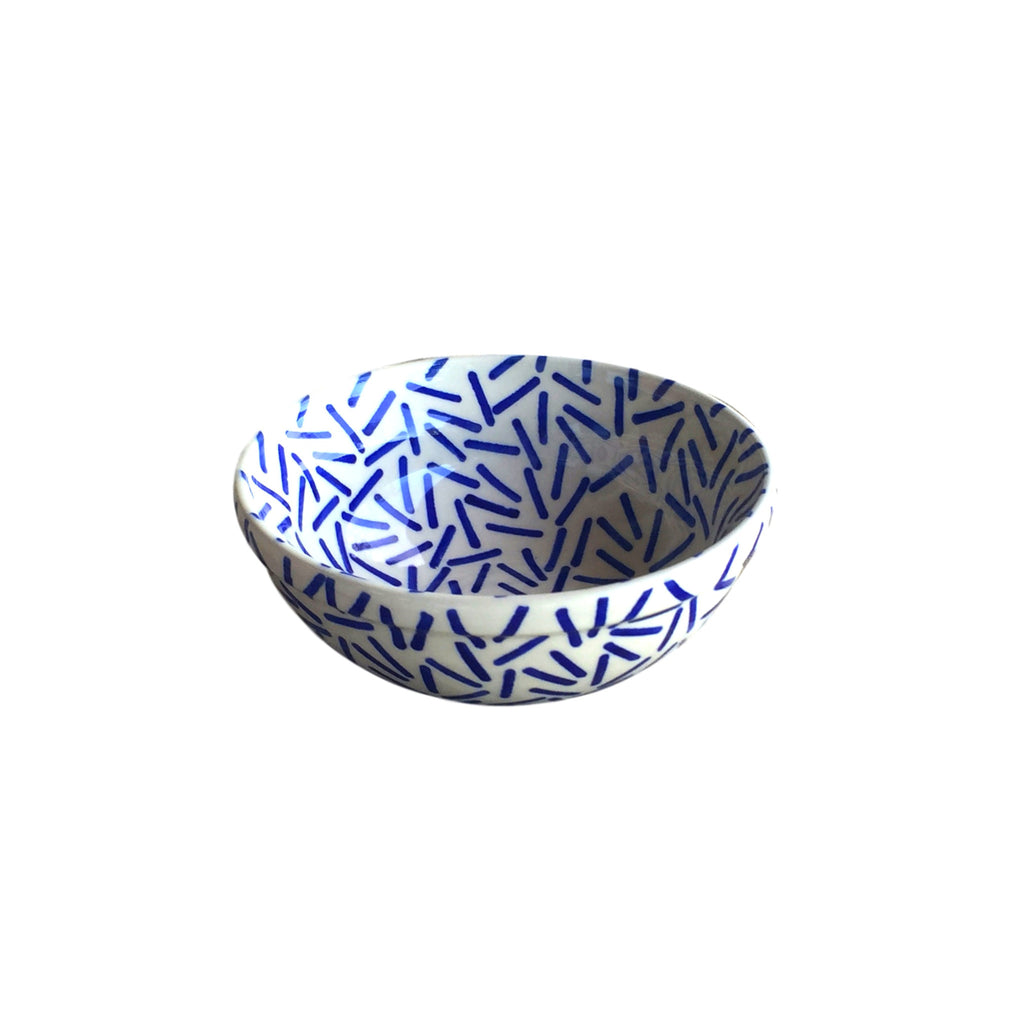 Op Art Blue - Dessert Bowl  Polish Ceramics - PasParTou