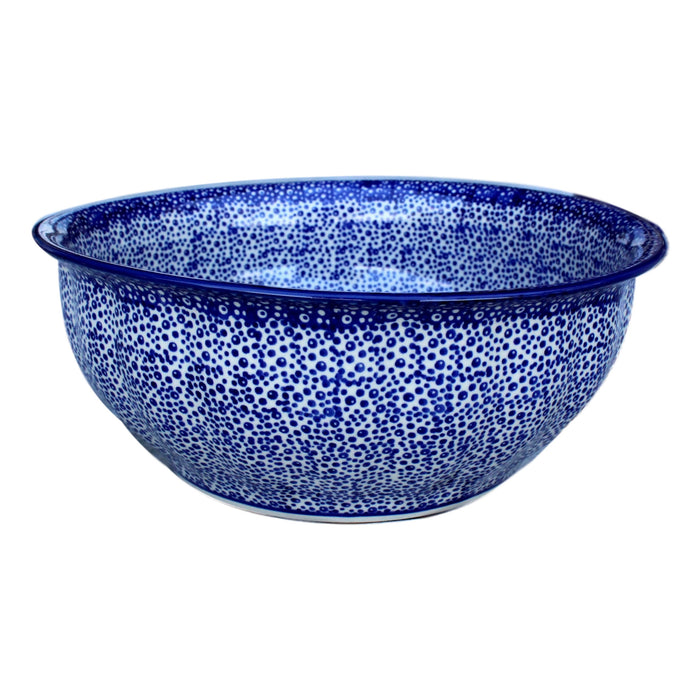 Blue Spatter - Large Fluted Serving Bowl  Polish Ceramics - PasParTou