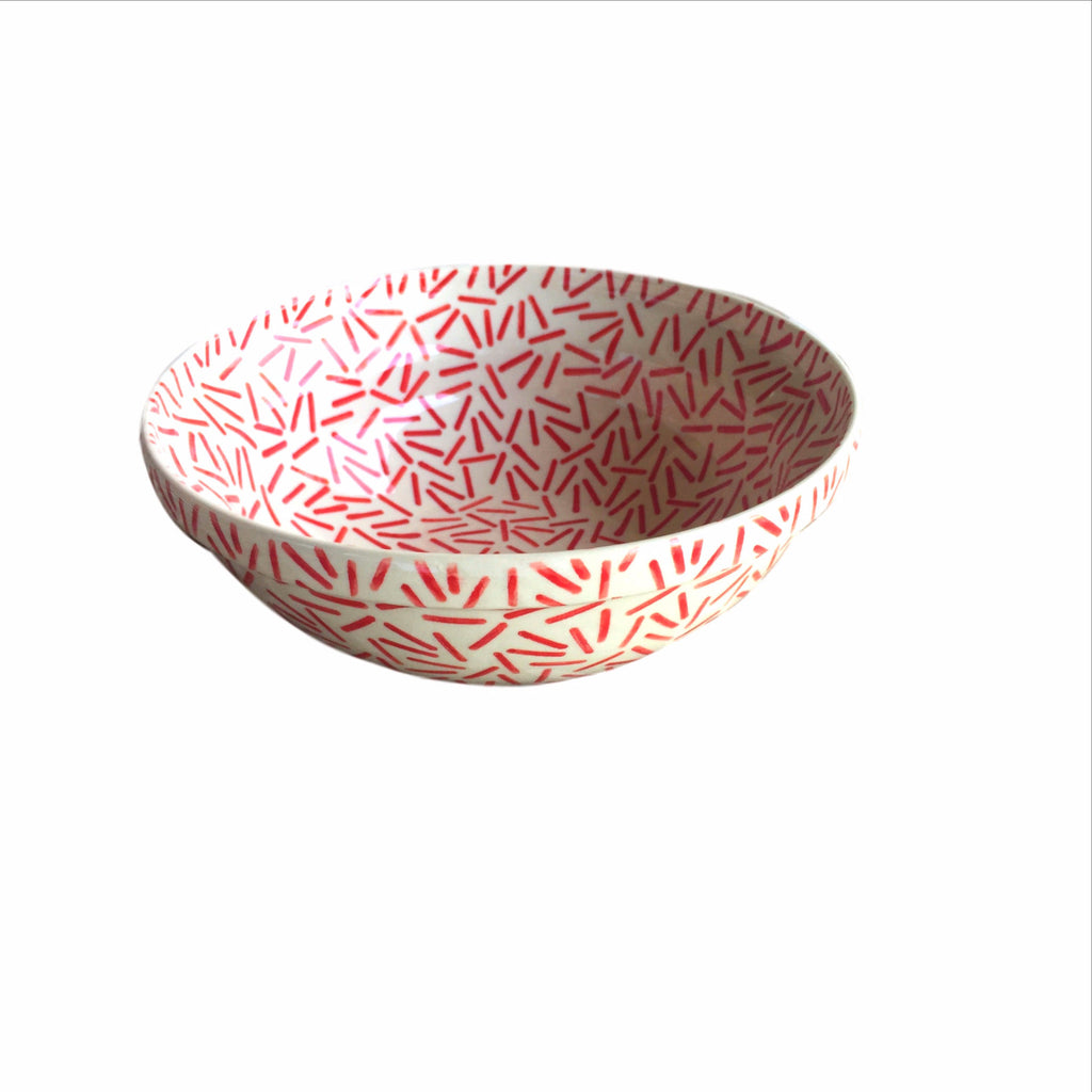 Opt Art Red - Medium Serving Bowl  Polish Ceramics - PasParTou
