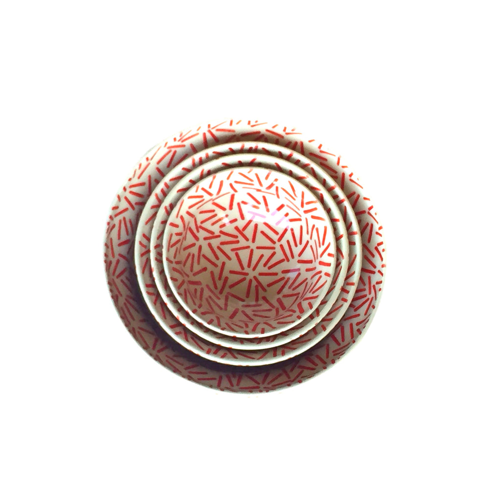 Op Art Red - Dessert Bowl  Polish Ceramics - PasParTou