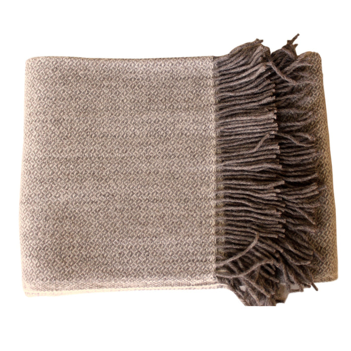 Organic Alpaca/Wool Throw - Brown Diamond - PasParTou