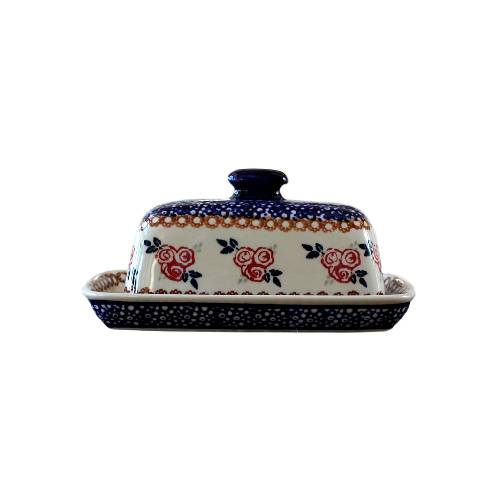 Red Rose - American Butter Dish  Polish Ceramics - PasParTou
