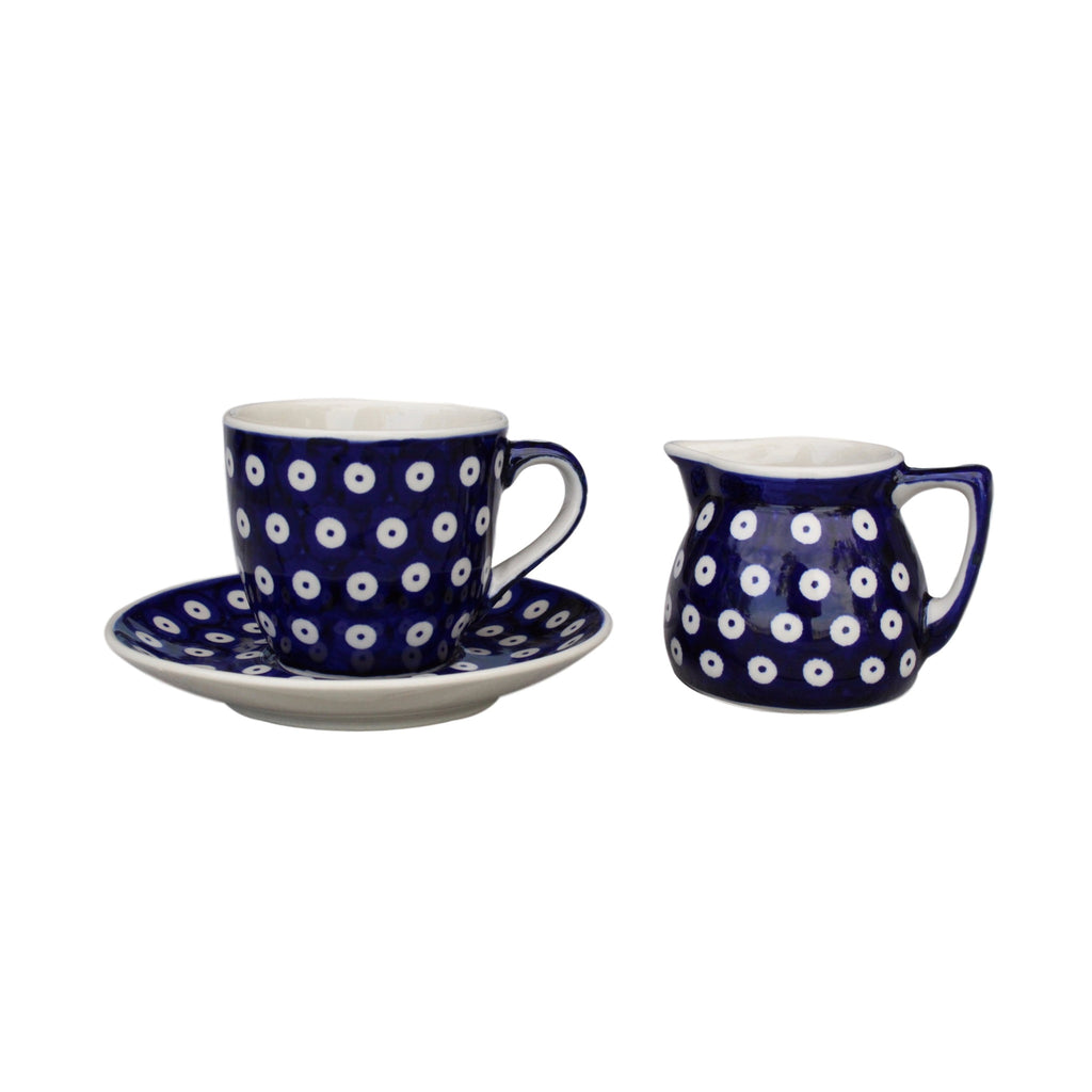 Dots in Dots - Small Creamer and Cup & Saucer - Pas-Par-Tou