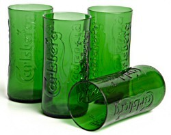 Glasses - Recycled Carlsberg Glasses. S/4