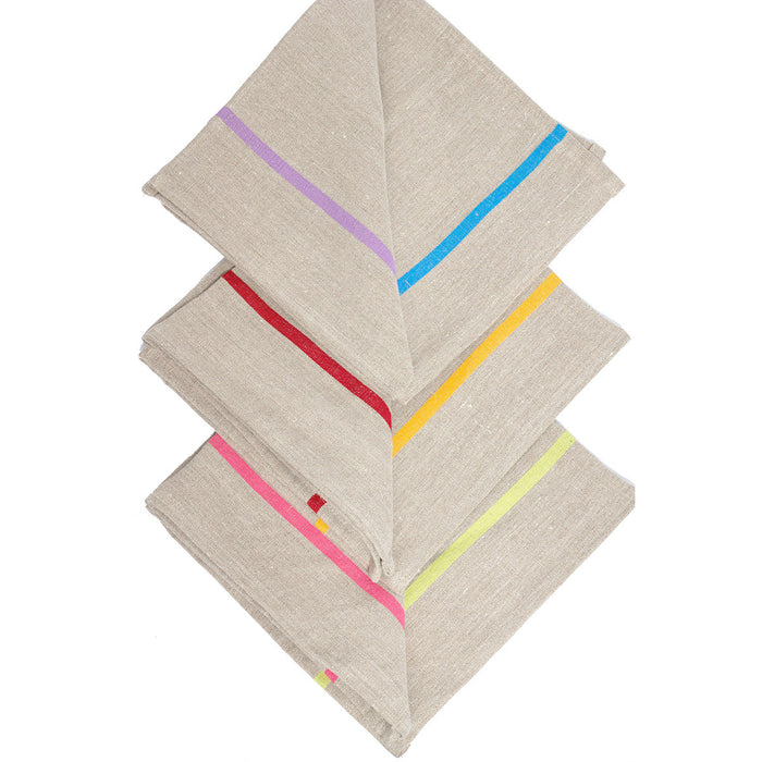 Napkins - Rainbow/Natural - 19x19 - Set of 4