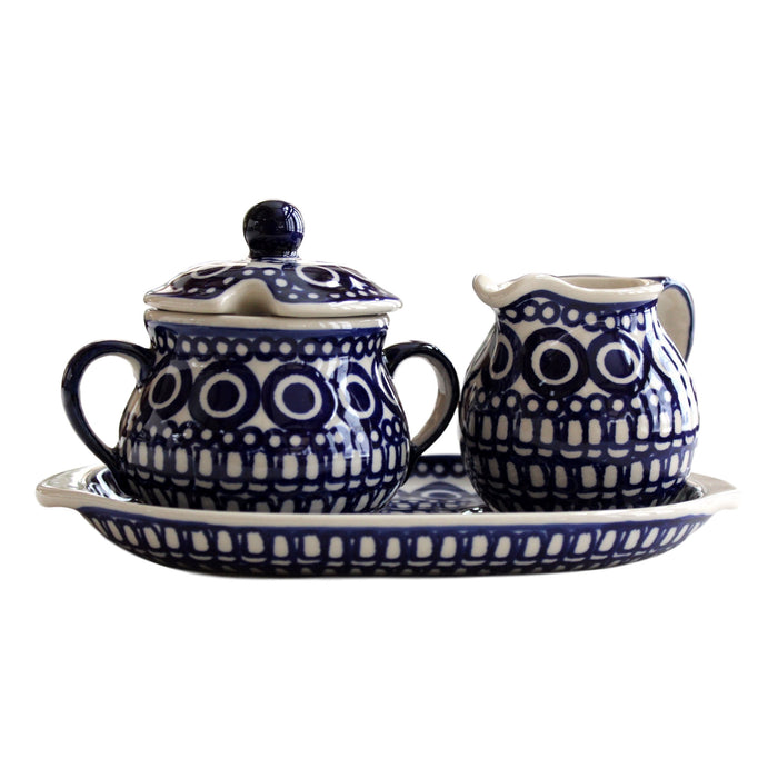 Circles - Sugar bowl and creamer.  Polish Ceramics - PasParTou
