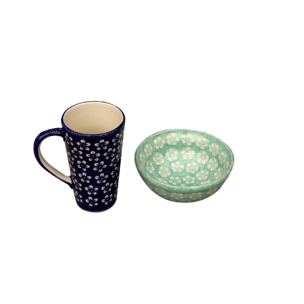 Blue Flowers - Tall Mug  Polish Ceramics - PasParTou