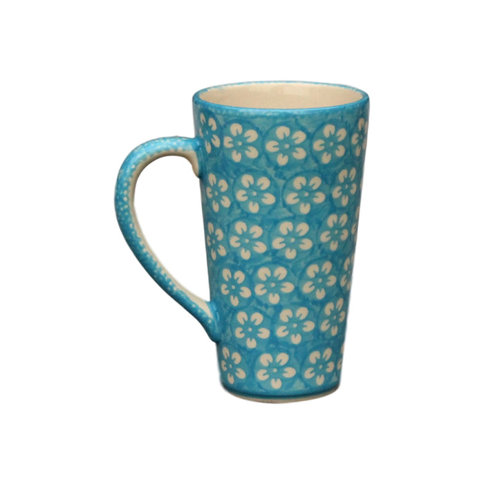 Teal Flowers - Tall Mug
